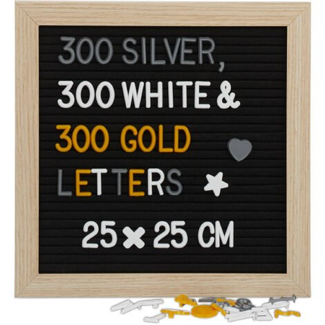 Relaxdays Black Changeable Letter Board, 25 x 25 cm; Wooden Retro Pegboard; 900 x Symbols / Letters, Wall Mounting