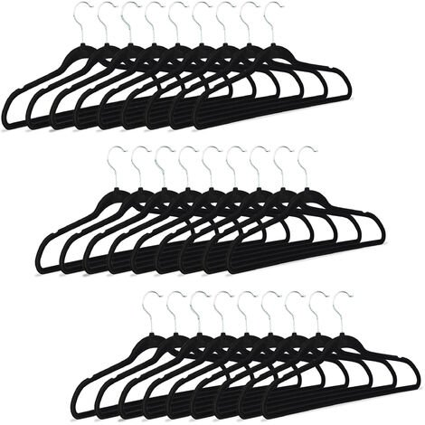 Relaxdays Black Clothes Hangers, Non-Slip Trouser Holders with Velvet Covering, HxWxD: 23.5 x 45 x 0.7 cm, Pack of 30