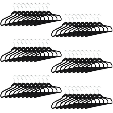 Relaxdays Black Clothes Hangers, Non-Slip Trouser Holders with Velvet Covering, HxWxD: 23.5 x 45 x 0.7 cm, Pack of 60