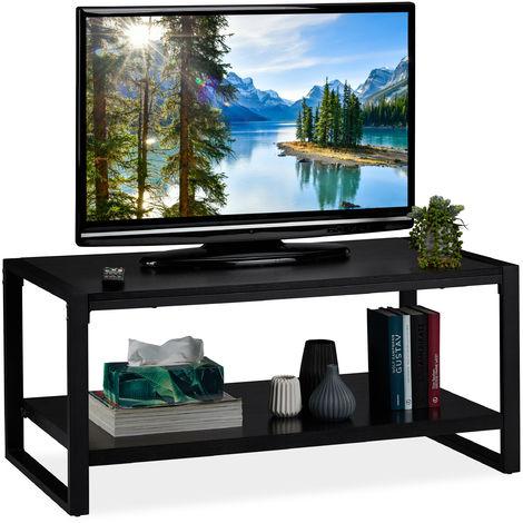 Relaxdays Black Coffee Table, 2-Tier TV Stand, Living Room Storage Shelf, H x W x D: 45 x 100 x 55 cm, Black