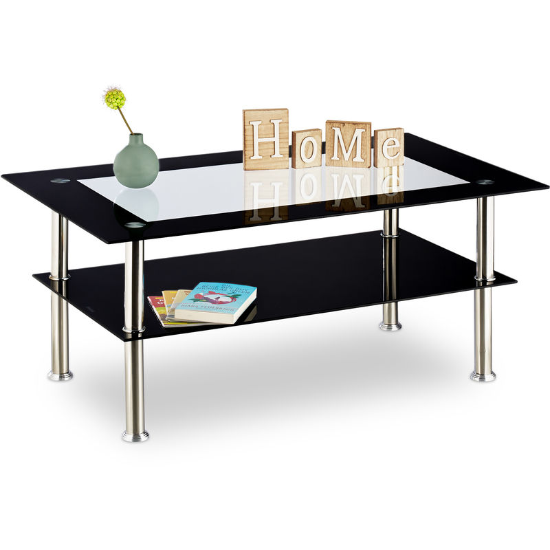 Relaxdays Black Gl Coffee Table Low Height Living Room With 2 Shelves Transpa Tabletop Stainless Steel 100 X 60 42 Cm