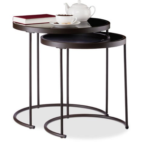 Relaxdays Black Glass Nesting Tables Set of 2, Round Side Tables, Metal Frame, Ensemble, HxD: 50 x 50 cm, Brown/Black