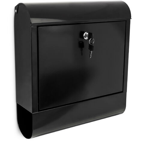 Relaxdays Black Iron Mailbox Letterbox With Newspaper Roll Holder 38 x 41.5 x 12 cm Wall Post Box Postbox Dark with Slot for Newspapers