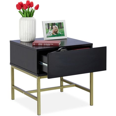 """main image of """"Relaxdays Black Nightstand, Square Side Table with Drawer, Wood, Golden Metal Frame, 50x50x50 cm, Black"""""""