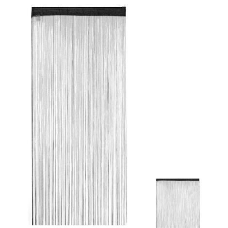 Relaxdays Black String Curtains, Can be Shortened, With Eyelet Top for Windows & Doors, Fly Screen, 90x245 cm, Black