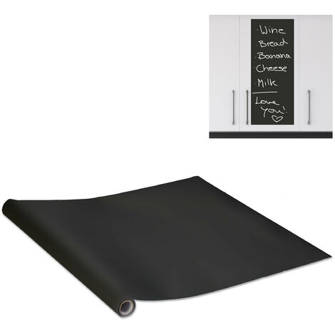 Relaxdays Blackboard, Self-adhesive, Chalkboard For Fridge, Wall, Sticky Chalk Board Roll, 200x45 cm, Black