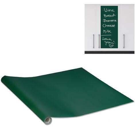 Relaxdays Blackboard, Self-adhesive, Chalkboard For Fridge, Wall, Sticky Chalk Board Roll, 200x45 cm, Green