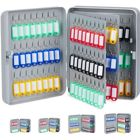 Relaxdays Boîte à clés 144 crochets, 30x24x8 cm armoire à clefs rangement fermant à clé garage sécurité, gris