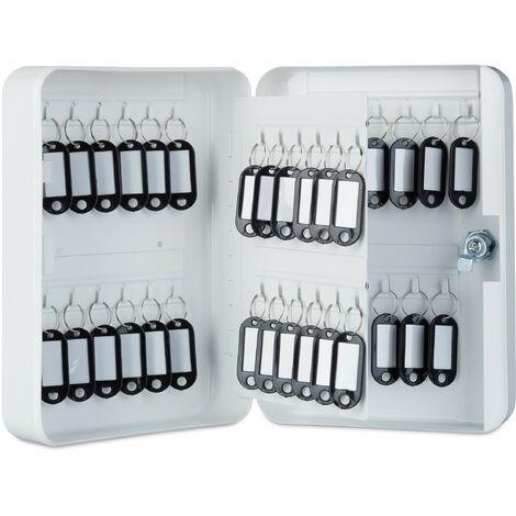 Relaxdays Boîte à clés, Armoire à clef murale, métal, Rangement 48 crochets, garage sécurité 25x18x7,5 cm, blanc