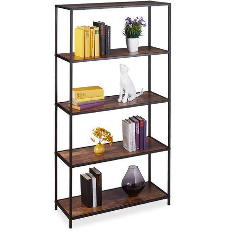 Relaxdays Bookcase Vintage, 5 Shelves, Industrial, Office & Home, Freestanding Shelf Unit, 150x77x33 cm, Wood Look/Black
