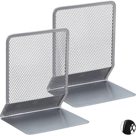 Relaxdays Bookend, Set of 2, Stands for Books, DVDs, Magazines etc., Book Support HxWxD: app. 16.5 x 13 x 10.5 cm, Silver