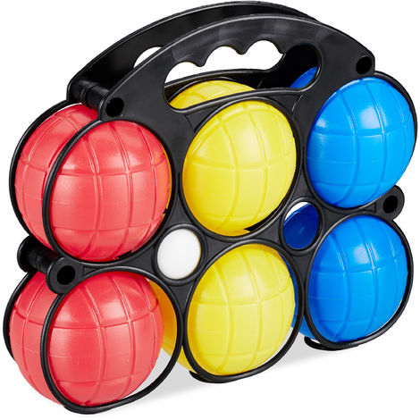 Relaxdays Boules Game, 6 Petanque Balls in 3 Colours, Plastic Boccia Set for Kids with Jack Ball & Carry Case, Colourful