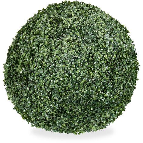 Relaxdays Boxwood Tree Ball Artificial, Round Decorative Plant, Boxwood Sphere, Weatherproof, 38 cm Ø, Green