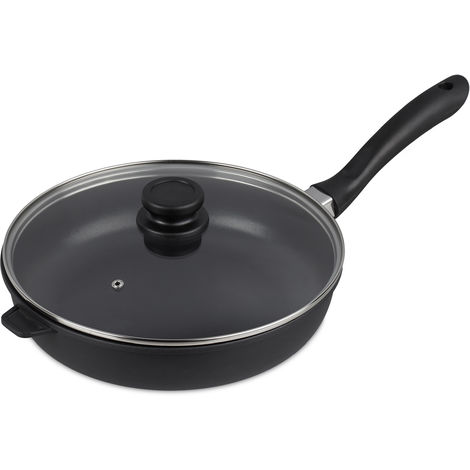 Relaxdays Braising Pan With Glass Lid, Non-stick, Frying Skillet To Hang, 29 cm Ø, Aluminium Cast, Dark-grey