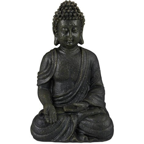 "main image of ""Relaxdays Buddha Ornament Sitting 30 cm high, Garden Decorative Figurine; Weatherproof, Frost-proof, Dark Grey"""