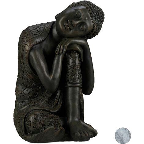 "main image of ""Relaxdays Buddha Ornament Sitting, 60 cm, Garden Decorative Figurine, Weatherproof, Frost-proof, Dark Grey"""
