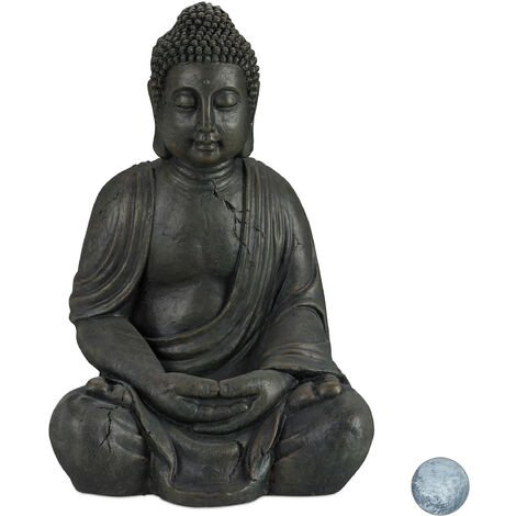 """main image of """"Relaxdays Buddha Ornament Sitting 70 cm high, Ceramic Decorative Figurine For Home and Garden, Weatherproof, Frost-proof, Dark Grey"""""""