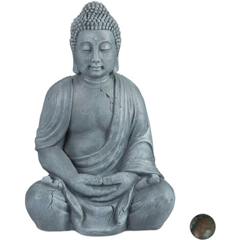 """main image of """"Relaxdays Buddha Ornament Sitting 70 cm high, Ceramic Decorative Figurine For Home and Garden, Weatherproof, Frost-proof, Light Grey"""""""