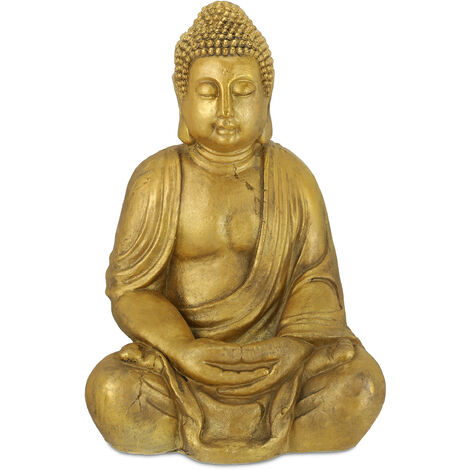 "main image of ""Relaxdays Buddha statue, weather-resistant meditating Buddha ornament, zen garden sculpture, 46x34x69 cm (LxWxH), gold"""