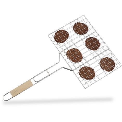 Relaxdays Burger Grilling Basket, XXL Cooking Grate for 6 Patties, Stainless Steel Fish Holder with Wooden Handle, Silver