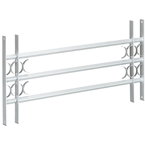 Relaxdays Burglary Protection Window Grille, Pull-Out, Galvanized Steel, 450 x 1000-1500 mm, Security Bars, Grey