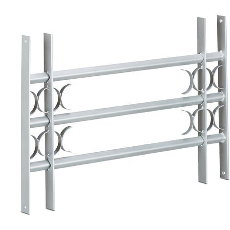 Relaxdays Burglary Protection Window Grille, Pull-Out, Galvanized Steel, 450 x 700-1050 mm, Security Bars, Grey