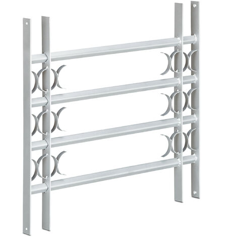 Relaxdays Burglary Protection Window Grille, Pull-Out, Galvanized Steel, 600 x 700-1050 mm, Security Bars, Grey