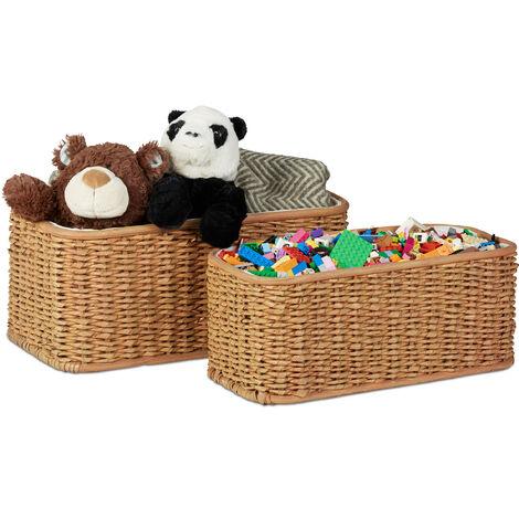 Relaxdays Buri Basket Set, 2 Woven Decorative Boxes, Lined Buri Storage Baskets, Honey-Brown