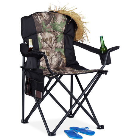 Relaxdays Camping Chair, Foldable Fishing Chair With Side Pocket & 2 Drink Holders, Portable, 113 kg Capacity, Black-Green