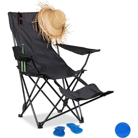 Relaxdays Camping Chair with Footrest, Folding Fishing Seat with Drink Holder & Armrests, Up to 120 kg, Black