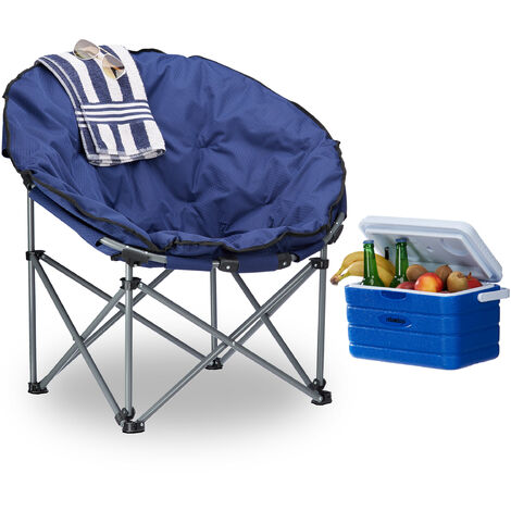 Relaxdays Camping Moon Chair, 120 kg, Comfortable, XXL Foldable Garden Chair with Tote, Dark Blue