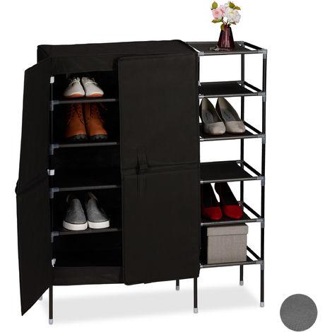 Relaxdays Canvas Wardrobe, 5 Shelves, Fabric Closet, Foldable, Bedroom, Hallway, 105 x 88 x 30 cm, Various Colours