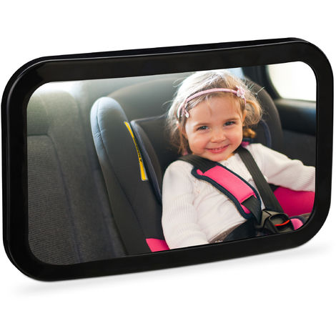Relaxdays Car Baby Mirror, Rear View, 360° Rotational & Angles, Shatterproof, Holder For Headrest, ABS Plastic, Black