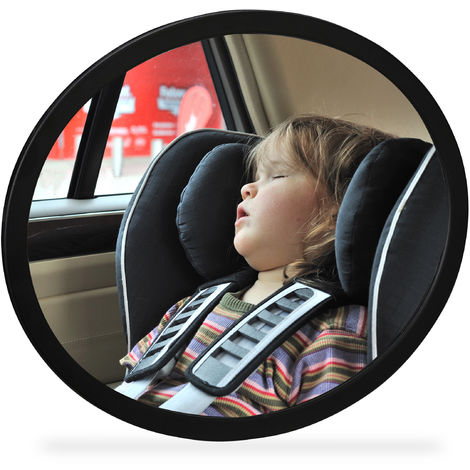 Relaxdays Car Baby Mirror, Rear View , 360° Rotational & Angles, Shatterproof, Holder For Headrest, ABS Plastic, Black