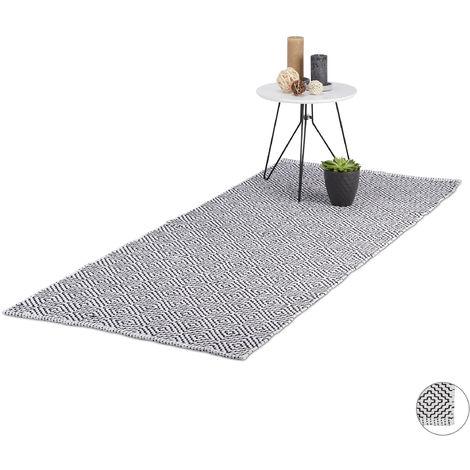 Relaxdays Carpet Runner, Hallway Cotton Rug, Anti-Slip, Handmade Living Room Mat, 80x200 cm, Black-White