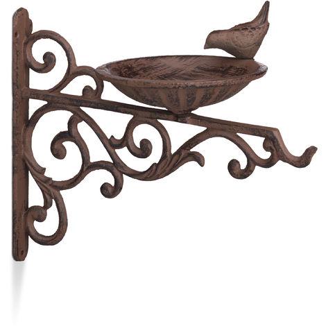Relaxdays Cast Iron Bird Bath, Wall-Mount, Weatherproof, Stainless, Wild Bird Feeder, Garden Decor, HxWxD 24 x 28 x 14cm, Brown