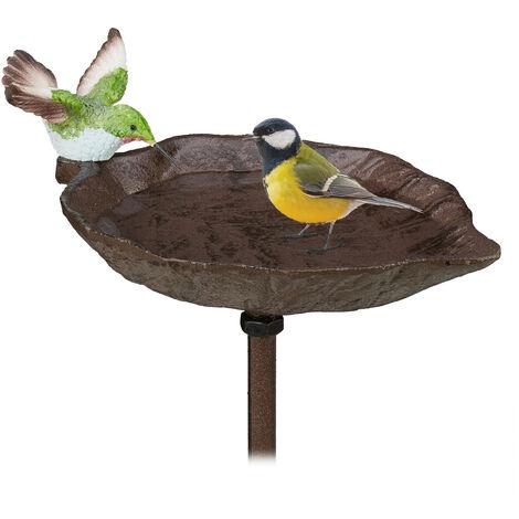 Relaxdays Cast Iron Bird Bath with Ground Spike, Garden Decor, Bird Feeder, Water Bowl, 1 cm Tall, Brown