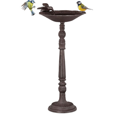 Relaxdays Cast Iron Bird Bath with Stand, Garden Decor, Bird Feeder, Water Bowl, 40 cm Tall, Brown