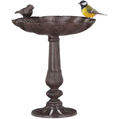 Relaxdays Cast Iron Bird Bath with Stand, Garden Decor, Bird Feeder, Water Bowl, Wild Bird Feeder, Brown