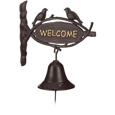 """main image of """"Relaxdays Cast Iron Door Bell WELCOME, Antique Style, Golden Letters, Sign with Birds, Front Door and Garden, Dark Brown"""""""