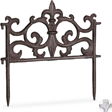 Relaxdays Cast Iron Flowerbed Fence, Vintage Design, Single Panel, Decorative Lawn Edging, HxW: 27x27cm, Brown