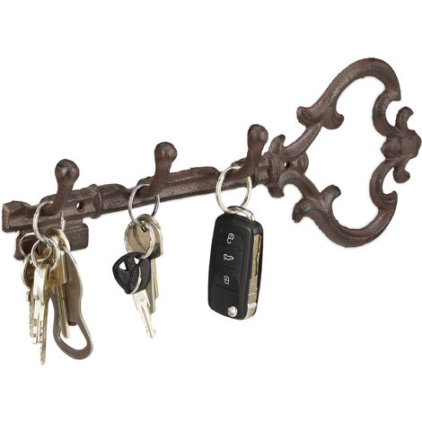 Relaxdays Cast Iron Key Hooks, In the Shape of a Key, 3 Hooks, Antique Cottage-Style, HxWxD: ca 12.5 x 33 x 4.5 cm, Brown