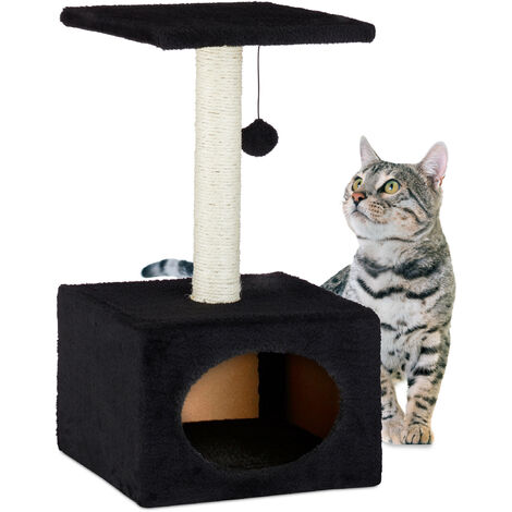 Relaxdays Cat Activity Tree Scratcher Play Tower, Plush Cover Sisal Pole with Play Ball, HWD 56x31x31 cm, Black