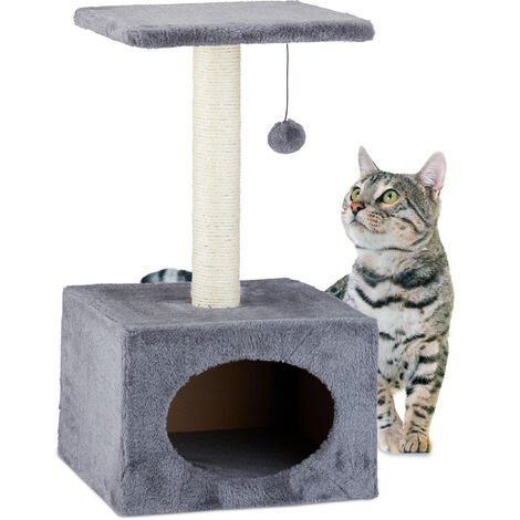 Relaxdays Cat Activity Tree Scratcher Play Tower, Plush Cover Sisal Pole with Play Ball, HWD 56x31x31 cm, Grey