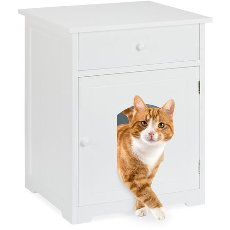 Relaxdays Cat Cabinet with Drawer, Wooden Cupboard Design, Litter Box, Pet House, H x W x D 63.5 x 52 x 48 cm, White