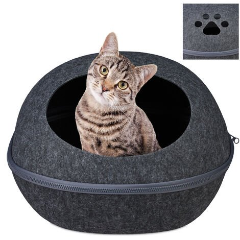 Relaxdays Cat Cave Felt, Kitten Tent, Small Dog & Puppy Bed, Oval Hideout With Pillow, 2in1 Pet Igloo, Anthracite