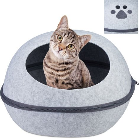 Relaxdays Cat Cave Felt, Kitten Tent, Small Dog & Puppy Bed, Oval Hideout With Pillow, 2in1 Pet Igloo, Light Grey