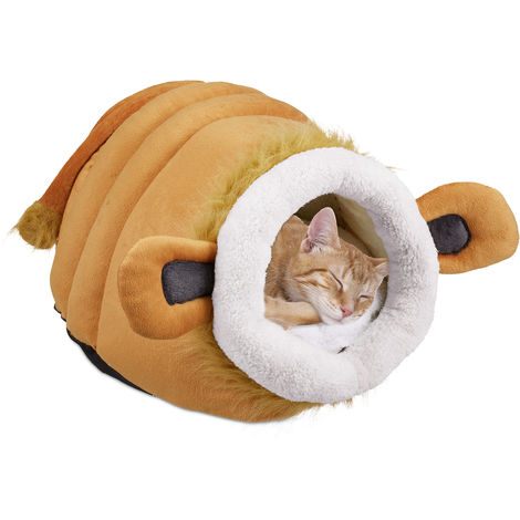 Relaxdays Cat Cave, Fluffy Pet Retreat for Felines and Small Dogs, Cute Bed with Cushion, Brown
