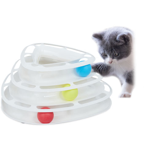 Relaxdays Cat Roller Toy, Interactive Kitten Teaser with 3 Balls, 3-Level Tower Track, Entertainment & Exercise, White
