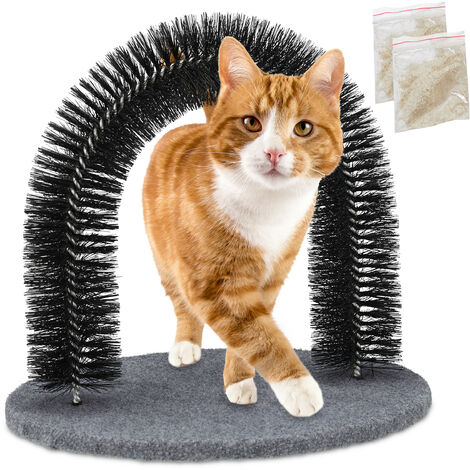 Relaxdays Cat Scratching Arch, Includes Catnip, Cat Brush for All Hairs, Black